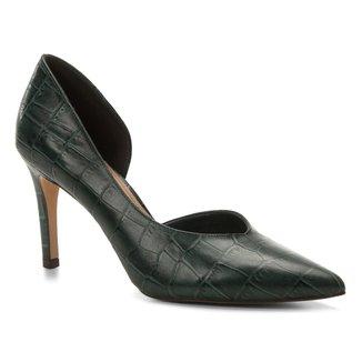 Scarpin Couro Shoestock Salto Alto Croco High Vamp