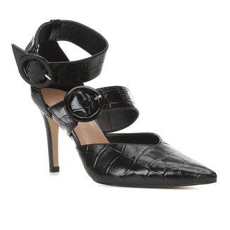 Scarpin Couro Shoestock Salto Alto Croco Tira Removível