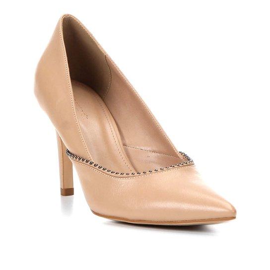 Scarpin Couro Shoestock Salto Alto Glam - Bege