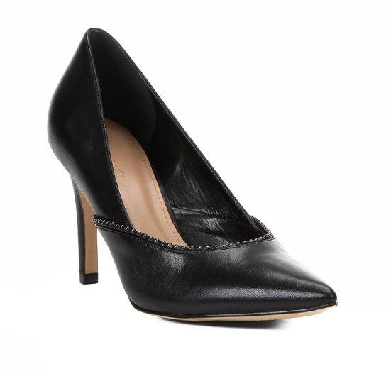 Scarpin Couro Shoestock Salto Alto Glam - Preto