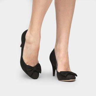 Scarpin Couro Shoestock Salto Alto Laço