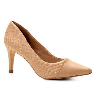 Scarpin Couro Shoestock Salto Alto Matelassê
