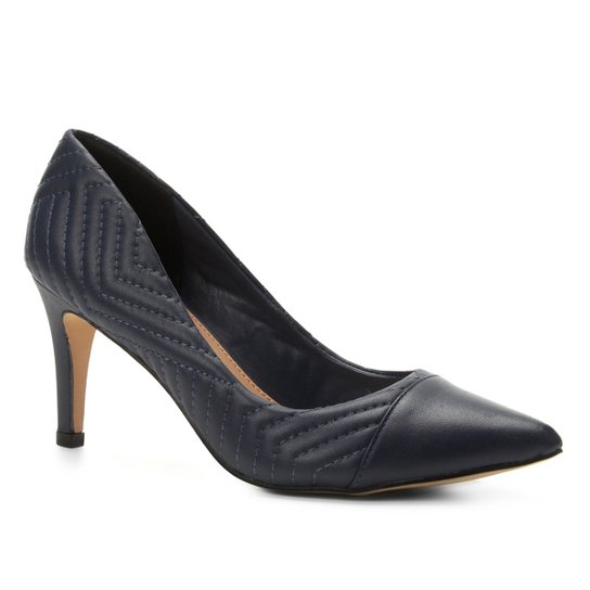 Scarpin Couro Shoestock Salto Alto Matelassê - Marinho