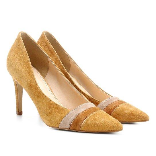 Scarpin Couro Shoestock Salto Alto Mix Colors - Caramelo