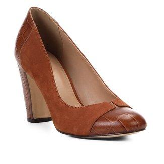 Scarpin Couro Shoestock Salto Alto Mix Croco