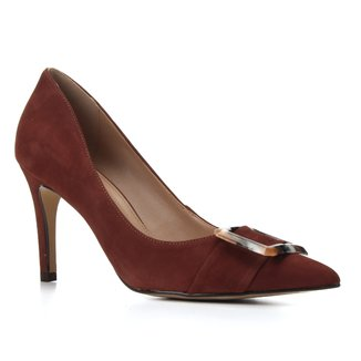 Scarpin Couro Shoestock Salto Alto Nobuck Fivela Marmorizada
