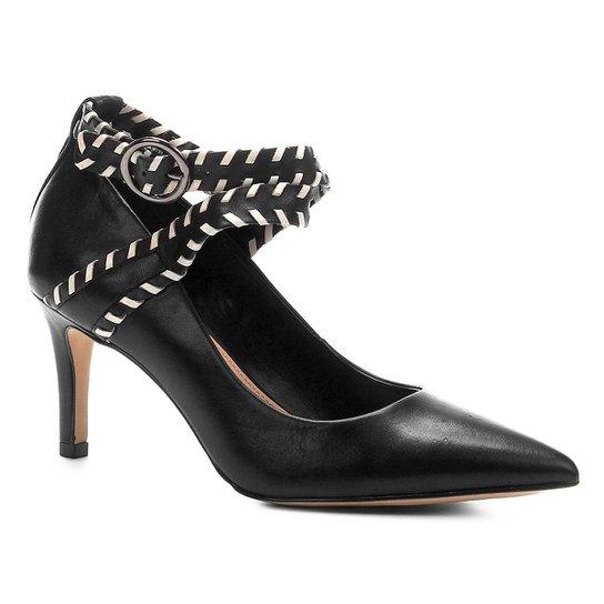 Scarpin Couro Shoestock Salto Alto Nomade Crafts - Preto