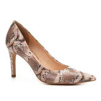 Scarpin Couro Shoestock Salto Alto Snake