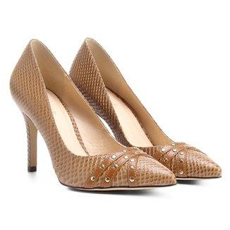 Scarpin Couro Shoestock Salto Alto Tachas
