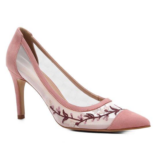 Scarpin Couro Shoestock Salto Alto Tela Bordado - Rosa