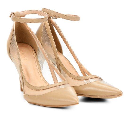 Scarpin Couro Shoestock Salto Alto Tela - Nude