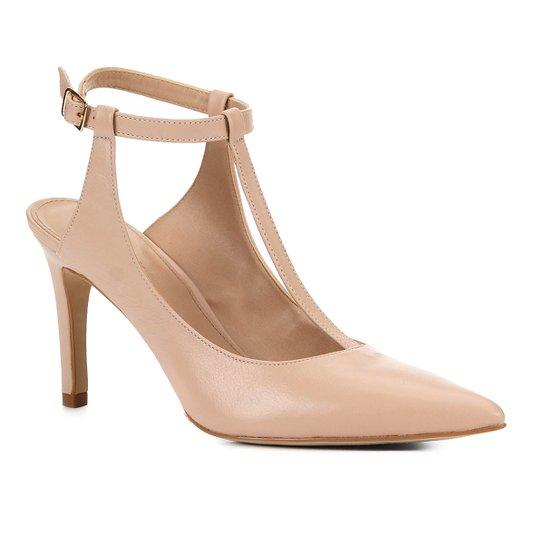 Scarpin Couro Shoestock Salto Alto Tira - Nude