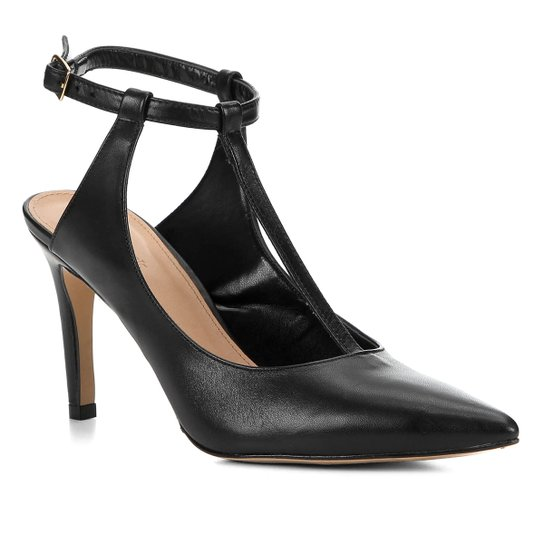Scarpin Couro Shoestock Salto Alto Tira - Preto