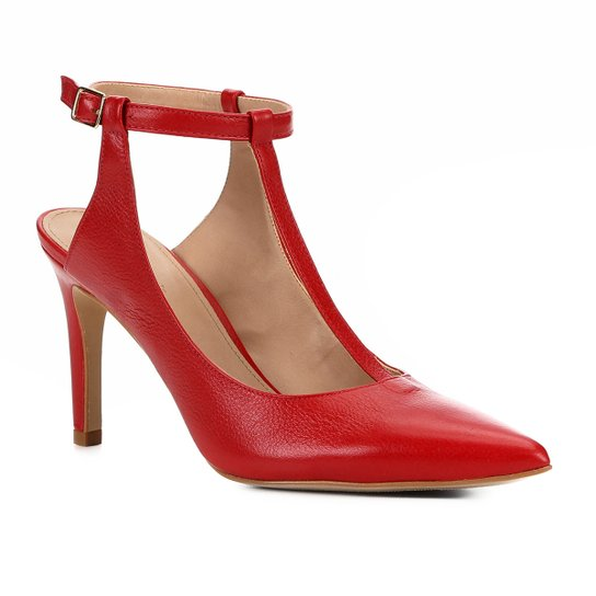 Scarpin Couro Shoestock Salto Alto Tira - Vermelho