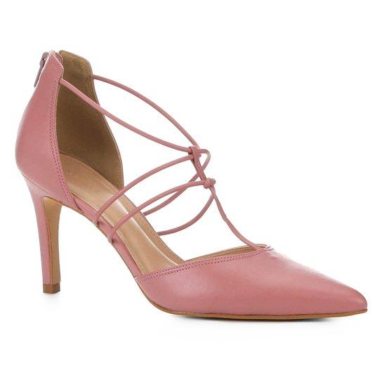 Scarpin Couro Shoestock Salto Alto Tiras - Rosa