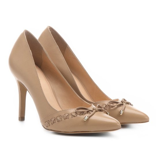 Scarpin Couro Shoestock Salto Alto Trançado - Bege
