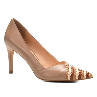 Scarpin Couro Shoestock Salto Alto Tranças