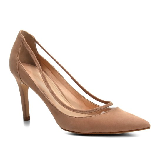 Scarpin Couro Shoestock Salto Alto Vinil - Nude