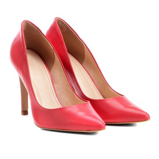 Scarpin Couro Shoestock Salto Alto - Vermelho