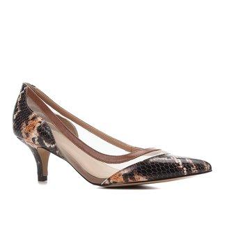 Scarpin Couro Shoestock Salto Baixo Bico Fino Cobra Telado