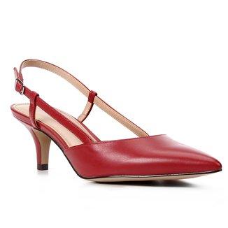 Scarpin Couro Shoestock Salto Baixo Bico Fino Slingback