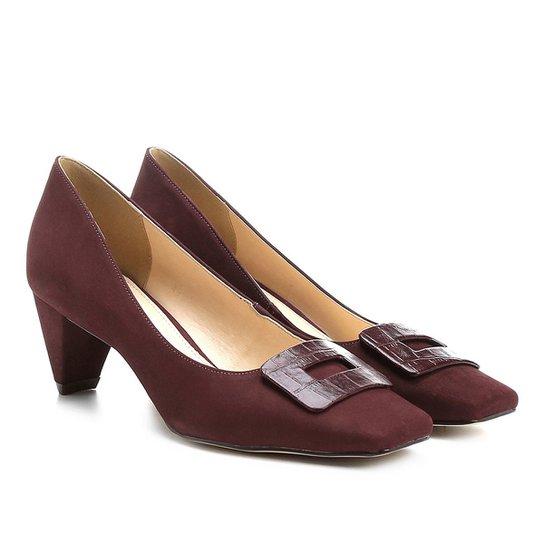 Scarpin Couro Shoestock Salto Baixo Bico Quadrado Fivela Forrada - Vinho