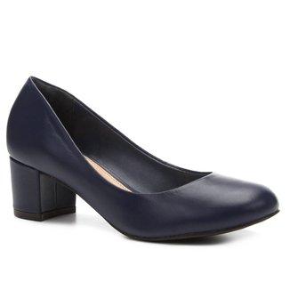 Scarpin Couro Shoestock Salto Baixo Bico Redondo
