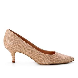 Scarpin Couro Shoestock Salto Baixo Cobra Sensation