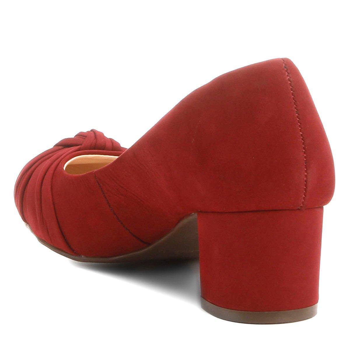 Nó Baixo Shoestock Couro Grosso Couro Scarpin Scarpin Vermelho Salto UqXX0w