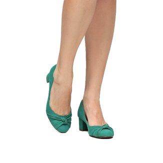 Scarpin Couro Shoestock Salto Baixo Grosso Nó