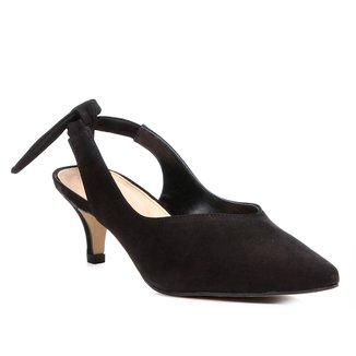 Scarpin Couro Shoestock Salto Baixo High Vamp