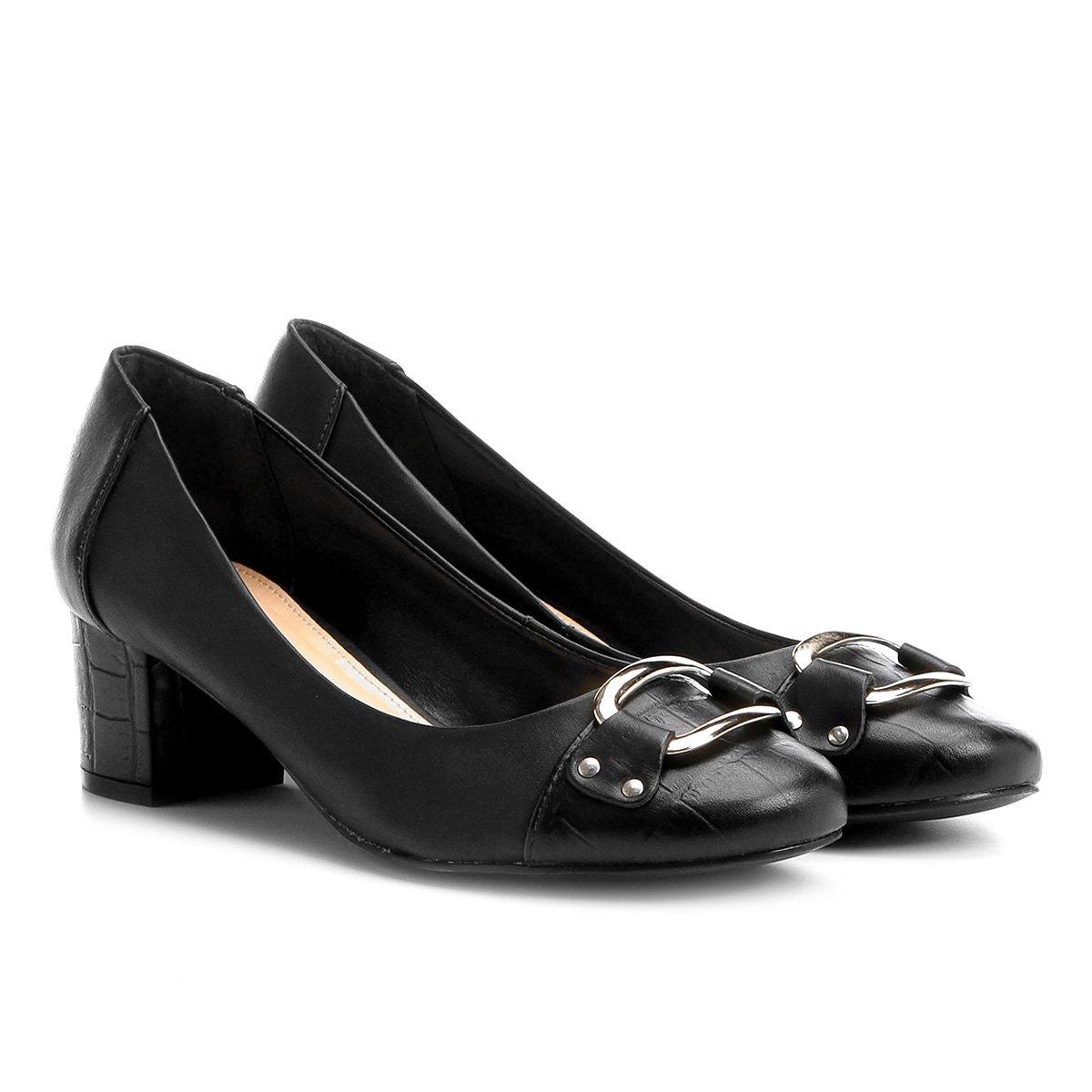 Couro Preto Scarpin Mix Shoestock Couro Croco Salto Scarpin Baixo FEg8xHgw