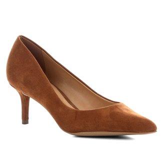 Scarpin Couro Shoestock Salto Baixo Nobuck