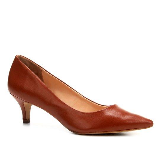 Scarpin Couro Shoestock Salto Baixo - Marrom Claro