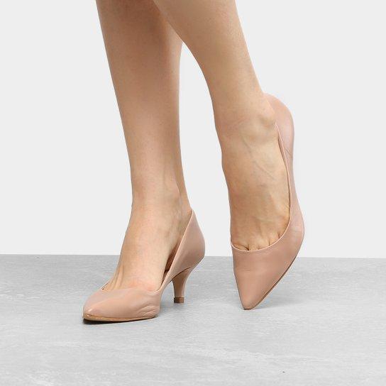 Scarpin Couro Shoestock Salto Baixo - Nude