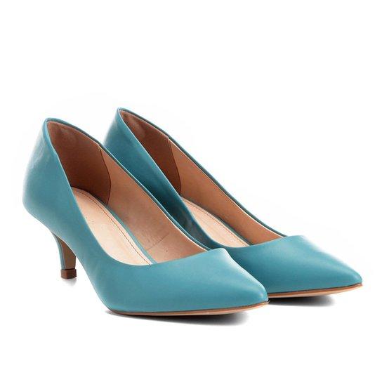 Scarpin Couro Shoestock Salto Baixo - Azul Turquesa