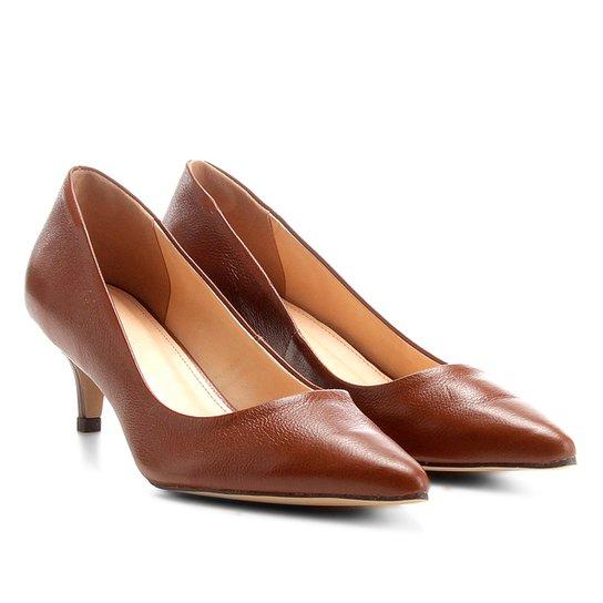 Scarpin Couro Shoestock Salto Baixo - Marrom