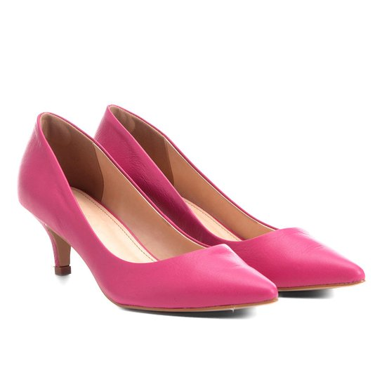 Scarpin Couro Shoestock Salto Baixo - Pink