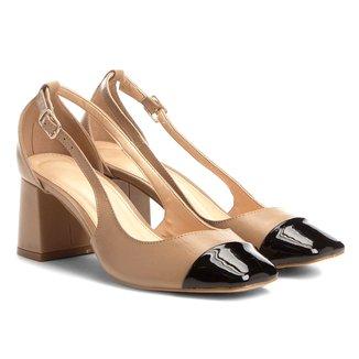Scarpin Couro Shoestock Salto Bloco Biqueira
