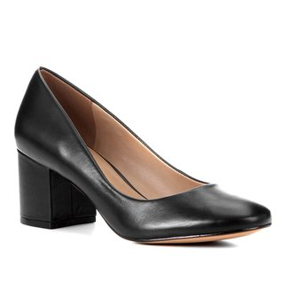 Scarpin Couro Shoestock Salto Bloco Confort