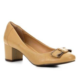 Scarpin Couro Shoestock Salto Bloco Laço