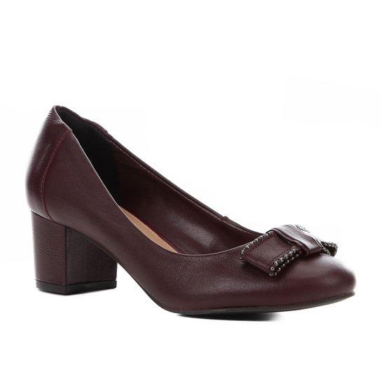 Scarpin Couro Shoestock Salto Bloco Laço - Vinho