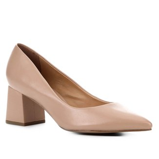 Scarpin Couro Shoestock Salto Bloco Médio