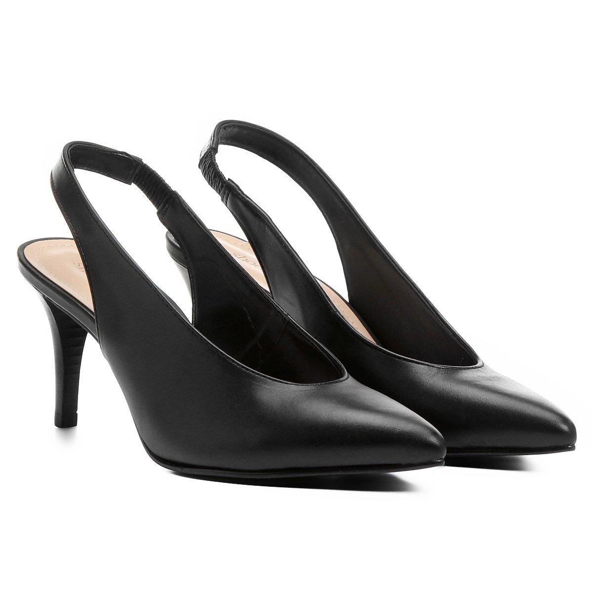 Shoestock Shoestock Salto Scarpin Aberto Couro Preto Couro Médio Scarpin dqUAUwI