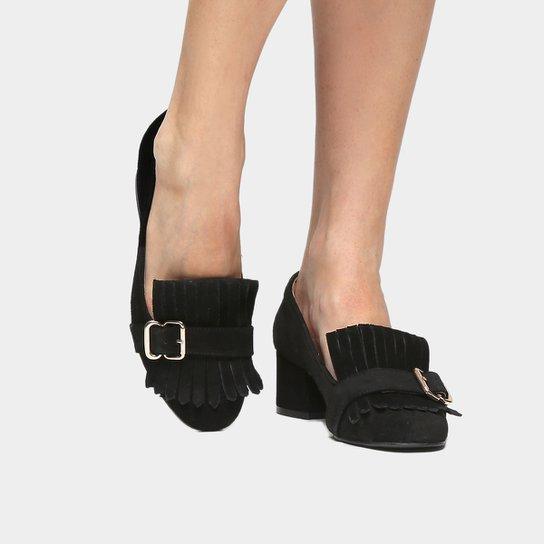 Scarpin Couro Shoestock Salto Médio Franja - Preto