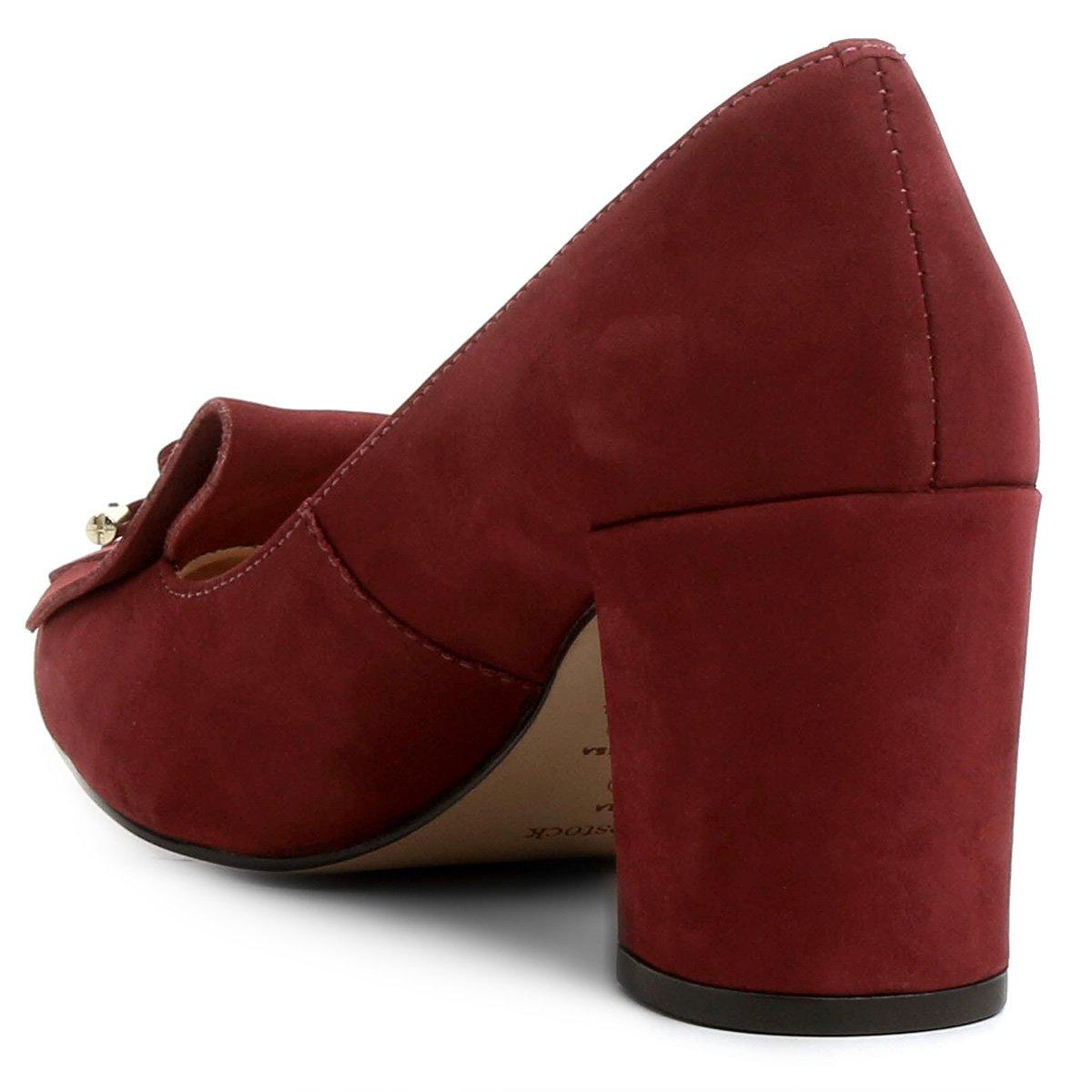 Médio Scarpin Vinho Scarpin Franjas Couro Couro Salto Shoestock qXrpxz8wX