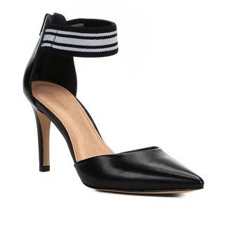 Scarpin Couro Shoestock Salto Médio Gorgorão