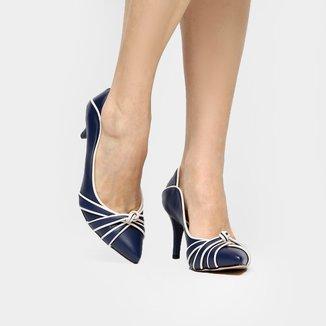 Scarpin Couro Shoestock Salto Médio Nó Bicolor