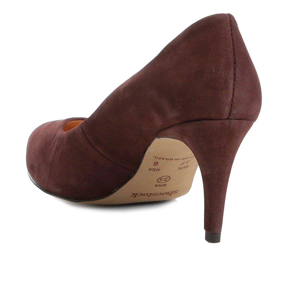 Médio Vinho Ondas Couro Couro Scarpin Shoestock Salto Shoestock Salto Scarpin Cxq10xwpS