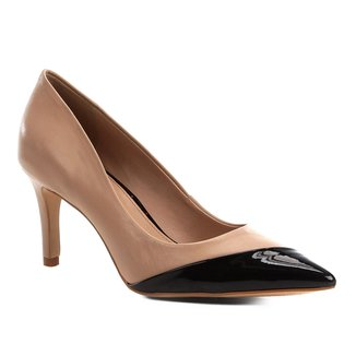 Scarpin Couro Shoestock Salto Médio Verniz